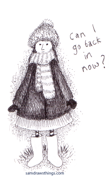 girl in a hat asking to go back indoors
