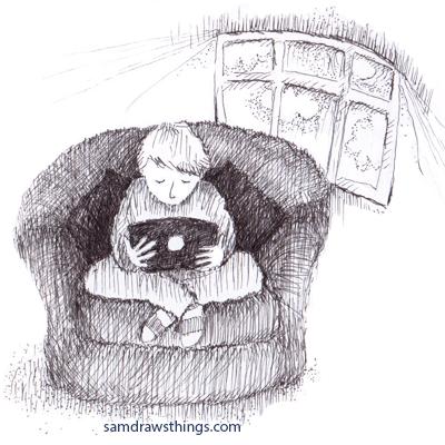 a boy sitting indoors